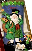 Bucilla Irish Santa Ireland Christmas Eve Shamrock Gold Felt Stocking Kit 85427 - $96.95