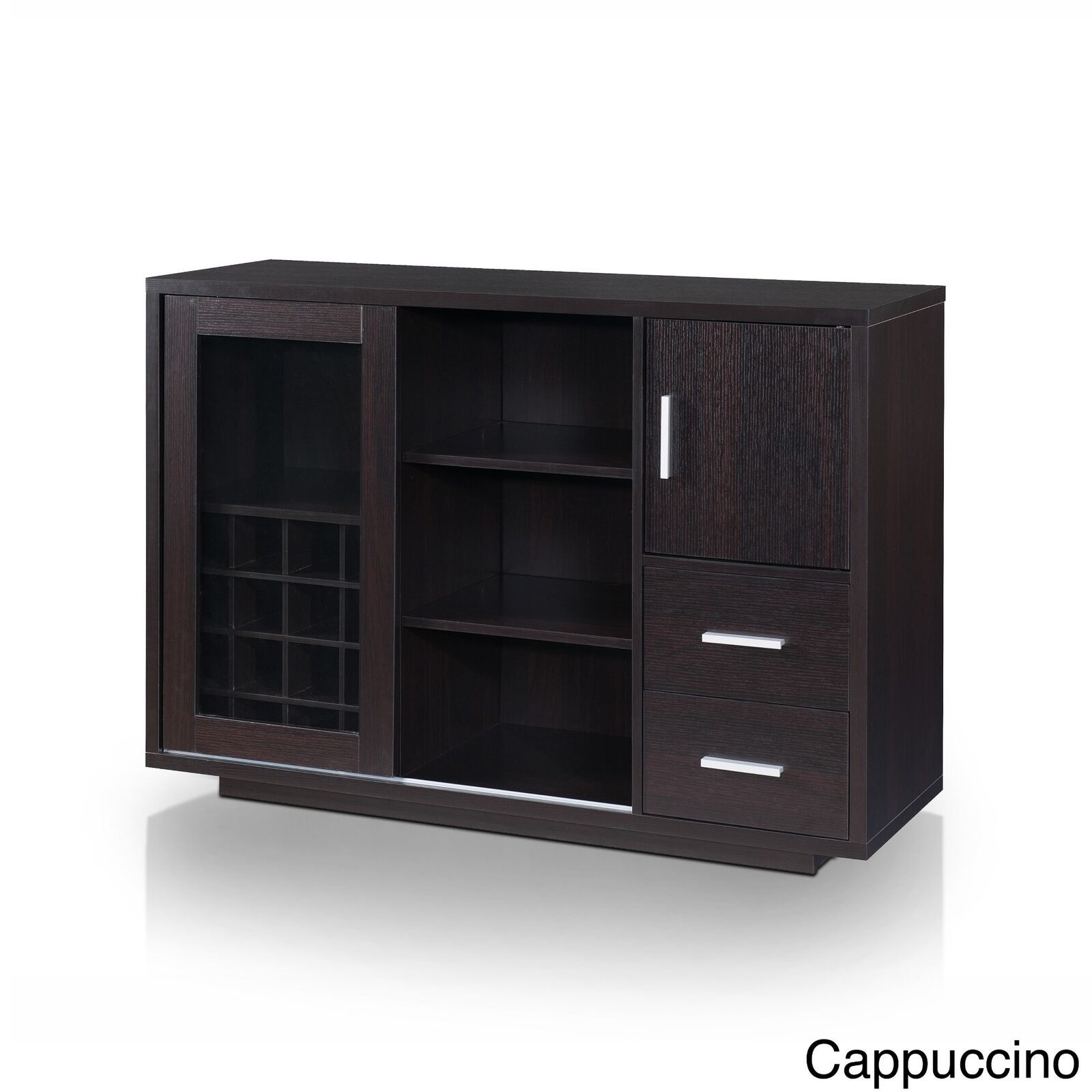 Espresso Brown Dry Bar Storage Holds 16 Bottles Wine Rack Liquor Cabinet Buffet