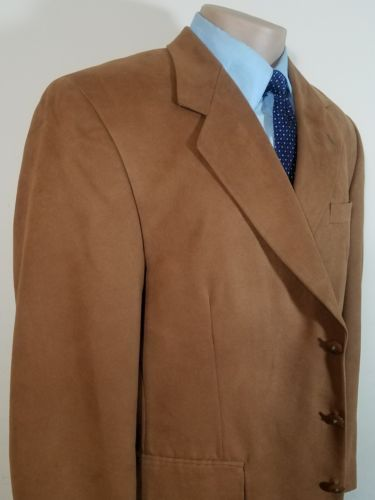RARE! OPTIONS BY STAFFORD MENS SPORT COAT SUPER SUEDE LINED BROWN 44R WPL# 11935