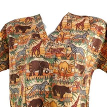 Mad About Scrubs! Large Elephants Zebras Camels Rhinos Scrub Top No Size... - $17.81