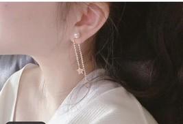 AUTH Christian Dior 2020 GOLD CRYSTAL J'ADIOR DANGLE STAR PEARL EARRINGS  image 11