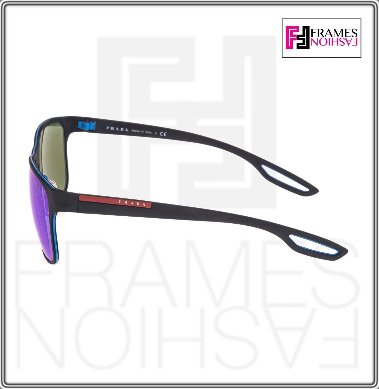 PRADA LINEA ROSSA LJ SILVER SPS 56Q Matte Black Azure Mirrored Square Sunglasses