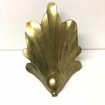 Art Deco Sea Shell Solid Brass Wall Pocket Hanging Flower Planter DAMAGED - $24.74