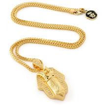 King Ice 14K Gold Cubic Zirconia Bandana Pharaoh Pendant & Necklace NKX0992 NWT image 3