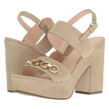 Kate Spade Rashida Beige Sand Kid Suede Chunky Ankle Strap Sandal Heels 9.5 NIB - $133.16