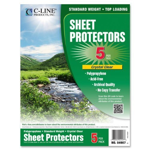 Primary image for C-Line Biodegradable Poly Top Loading Sheet Protectors, Clear, 8.5 x 11 Inches,