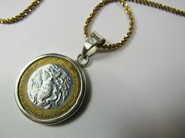 "Gold Vermeil Sterling Silver 1994 Diez Nuevos Mexico Coin Pendant 23.5"" ... - $36.58"