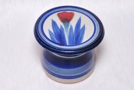 Vintage Collectible Boho Tea Holder Blue Gray Floral Candle Warmer Decor - $25.00