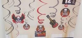 Rock & Roll Skulls & Crossbone Swirl Decoration party guitar Birthday - $9.30