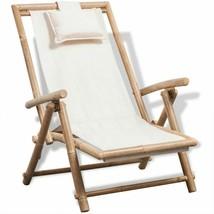vidaXL Deck Chair Bamboo Folding Patio Garden Outdoor Sunlounger Recliner - $64.99