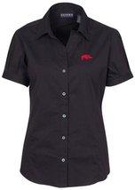 NCAA Arkansas Razorbacks Women's Solid Cap Sleeve Button Front Blouse, Black, La - $34.25
