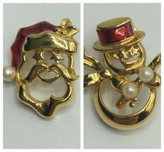 Vintage Christmas Brooch Pin Set - $14.85