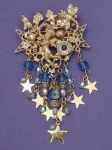 KIKS FOLLY Baby Blue Angel BROOCH Pin - Cherub Dragonfly Stars-3 1/2 inc... - $48.50