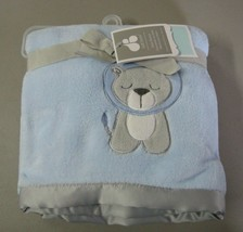 Just Born Blue Baby Blanket Gray Lion Satin Trim Plush Boy Security Love... - $49.47