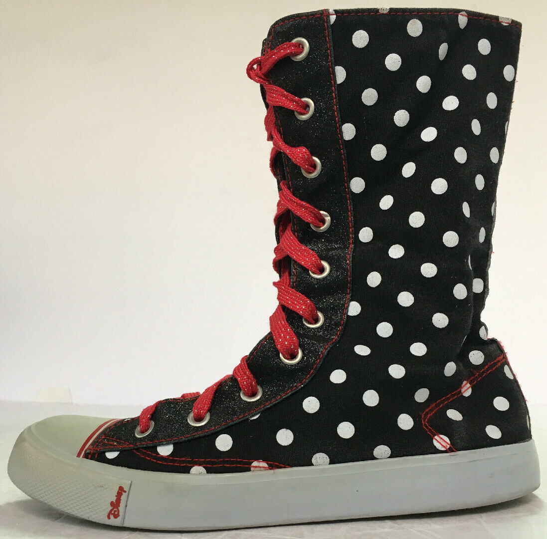 Primary image for Disney Polka Dot Minnie Mouse Sneakers Calf Hi top Canvas US Size 5 - Vintage