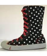 Disney Polka Dot Minnie Mouse Sneakers Calf Hi top Canvas US Size 5 - Vi... - £13.88 GBP