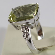 18K WHITE GOLD AND BIG LEMON QUARTZ RING MADE IN ITALY CARATS 9.5 CUSCION CUT image 2