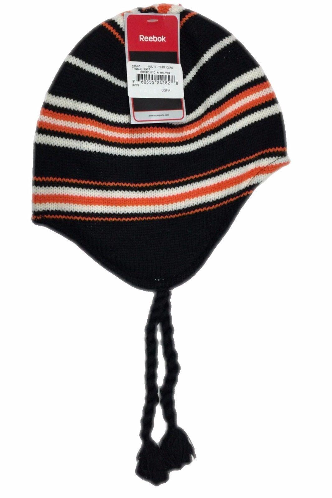 446d4b90b2c8cf Philadelphia Flyers NHL Winter Knit Fitted Reebok Beanie Hat W/Tassels NWT  Osfm