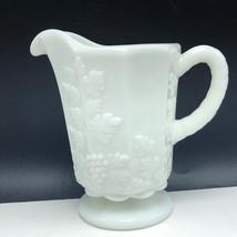 "Westmoreland Milk Glass Paneled Grape glassware England vintage creamer cream 5"" - $27.72"