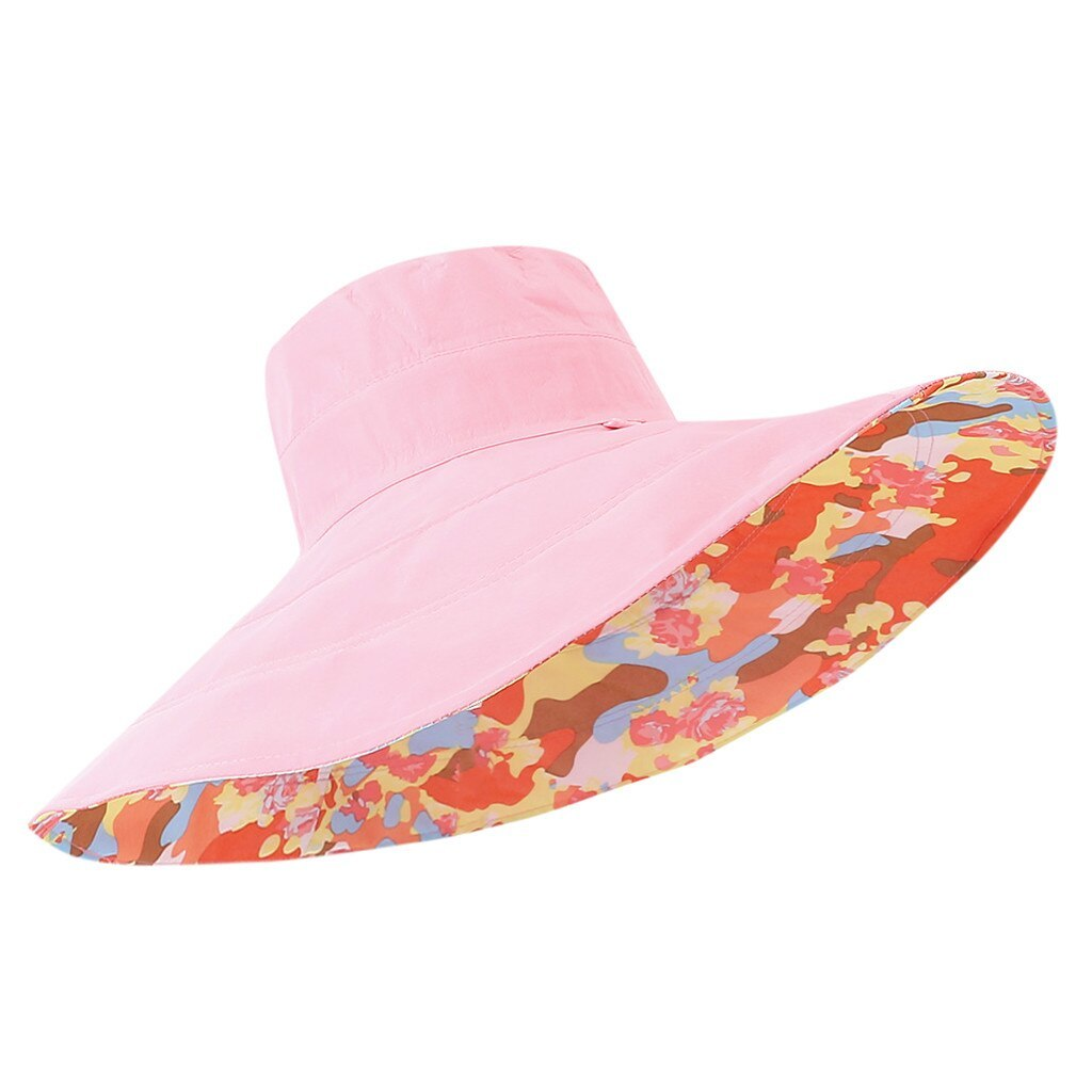 chapeau femme ete Women's Summer Hat Casual Solid Wide Brimmed Floppy Foldable B image 4