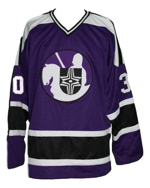 Gerry cheevers  30 cleveland crusaders retro hockey jersey purple   1