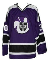 Any Name Number Cleveland Crusaders Retro Hockey Jersey Cheevers Purple Any Size image 1