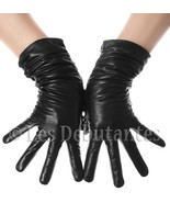 BLACK RUCHED LEATHER GLOVES WINTER WARM - $11.99
