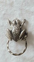 "VINTAGE SIGNED DETTI ANTIQUED PRESSED TIN FROG DRESS CLIP PIN BROOCH, 1.5"" - $8.51"