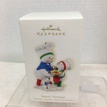 2008 Season's Treatings Snowman Hallmark Christmas Tree Ornament MIB PriceTag H3 - $32.18