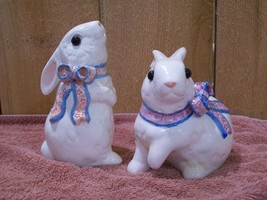 Ceramic White Spring Bunnies Bunny Rabbit Figurines Set of Two Easter Bu... - $17.82