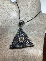 Vintage Silver Stainless Steel Egyptian Pyramid Eye Amulet Necklace - $94.05