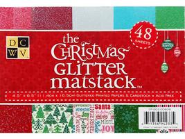 """DCWV The Christmas Glitter Cardstock Matstack, 48 Sheets, 4.5"""" x 6.5"""""""