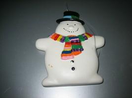 Adorable Dept 56 Ceramic Flat Snowman Ornament - $11.87