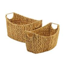 Natural Oblong Baskets Hyacinth Straw With Handles Set Of 2 - $38.89