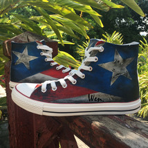 USA Puerto Rico Flag Converse All Star Design Hand Painted Canvas Shoes ... - $119.99