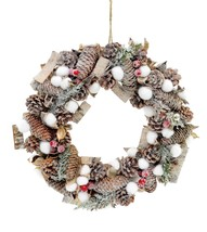 Christmas Real Cotton Wreath Frosted Tips Berries Vintage Home Wall Deco... - $25.74