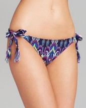 Becca Bikini Bottom Sz S Blue Multi Color Side Tie Basic Fit Swimwear Swim - $16.44