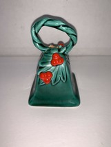 Vintage Porcelain Lefton Green Holly Bell w/ Red Berries #78? - $7.50