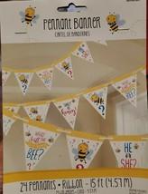 "Gender Reveal ""What Will The Little Honey Bee"" Baby Shower Pennant Flag Banner - $5.94"