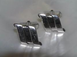 Vintage Triple Swirl Silvertone Rectangle Cuff Links  – 0.5 x 0.5 inches... - $8.59