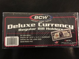 50  BCW Deluxe Semi Rigid Currency Sleeve Regular Bill Banknote Holder P... - $12.75