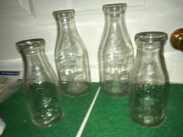 VINTAGE Lot (4) Embossed MILK bottles Hotchkiss Farms and ADC? ACD? - $39.59