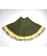 Z ZARA Broomstick Hippie Boho Tiered Olive Green Circle Skirt Womens Siz... - $18.80