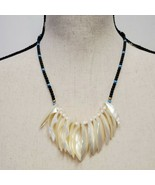 Vintage Tribal Inspired Necklace Blue Ivory Beaded Statement Costume Jew... - $29.99