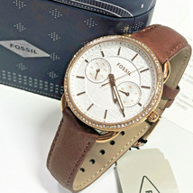 FOSSIL Tailor Multifunction Watch Terracotta Brown Leather Band Rose Gol... - $69.29
