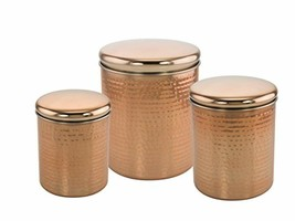 Set of 3 Copper Plated Stainless Steel Nesting Canisters With Lids Antiq... - $33.24