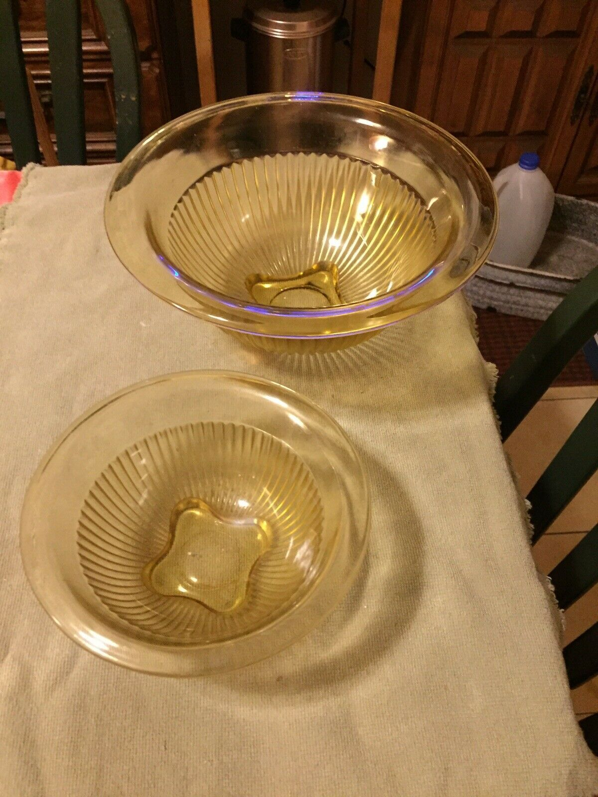 Primary image for FTD HAZEL ATLAS RIBBED AMBER/YELLOW DEPRESSION GLASS 2 PC MIX. BOWLS ROLLED RIM