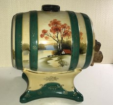 "Vintage Japanese Sake Wine Dispenser Hand-Painted Moriyama ""Cabin by the... - $18.37"