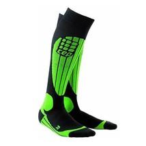 CEP Progressive+ Race Ski Socks Men's Black/Green V - Calf 18-20 Inches - $60.00