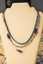 Aqua and Copper beaded Necklace - $45.00